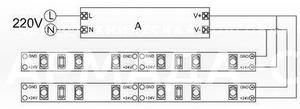 Схема подключения светодиодной ленты к источнику питания (А - источник питания)