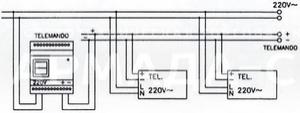Схема подключения с дистанционным устройством контроля TELEMANDO TM