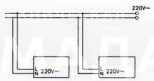 Схема подключения светильников для централизованных систем питания