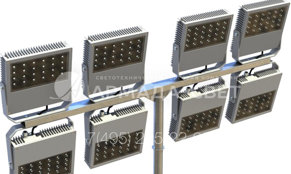 Если необходимо создать мощный световой поток на нужной точке освещаемой площадки, используется Т-образный светильник для прожекторов. Однако световые приборы располагаются вверху и внизу горизонтального элемента. Все провода проложены внутри полых металлических деталей, поэтому защищены от обрывов.