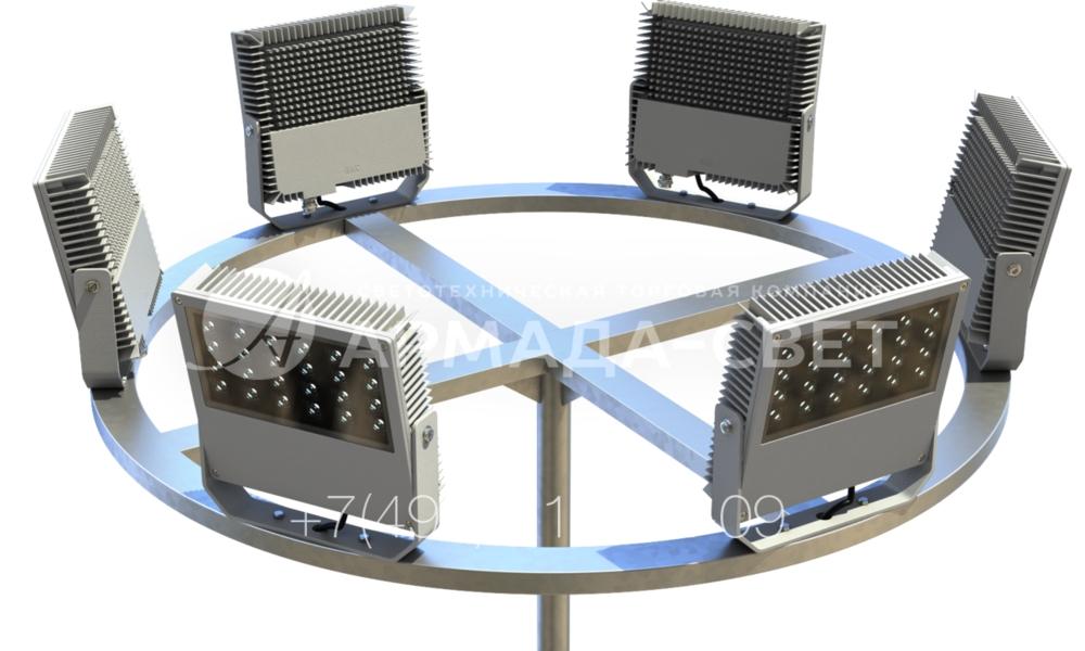С помощью прожекторов можно создать заливающее освещение очень большой площадки с помощью стандартной опоры без использования мачт. Для этого на оголовок металлической конструкции устанавливается кронштейн-корона. Он имеет горизонтальный элемент в виде кольца, который размещен на крестовине. На такую корону можно установить 6 и более прожекторов.