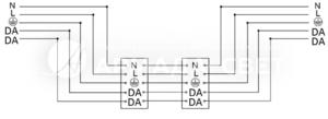 Схема подключ-я светильника к питающей сети с регулируемым драйвером по системе DALI