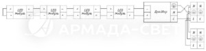 Схема электрических соединений для светильников со сквозной проводкой