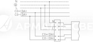 Схема подключения светильника к питающей сети с регулируемым драйвером по системе 1-10 V или системе DALI