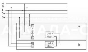 Схема подключения светильника к питающей сети с регулируемым драйвером по системе DALI и блоком резервного питания (на рис. а - светильник, b - блок резервного питания)
