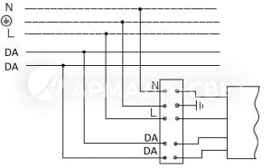Схема подключения светильника к питающей сети с регулируемым драйвером по системе DALI